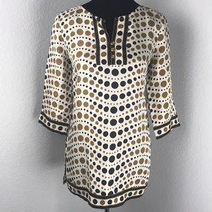 Kenar Cream Black Tan Wavy Dot Print Silk Tunic